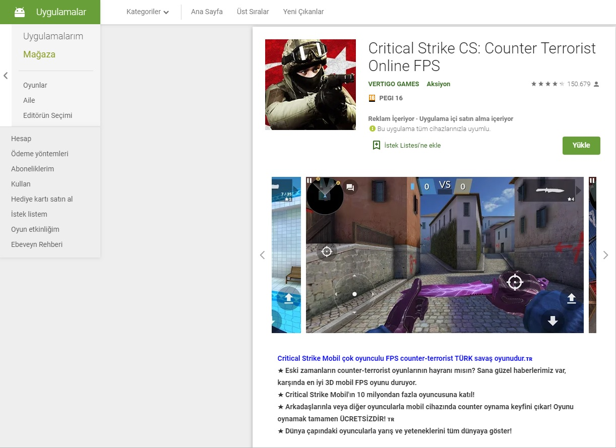 CRITICAL STRIKE CS COUNTER STRIKE android