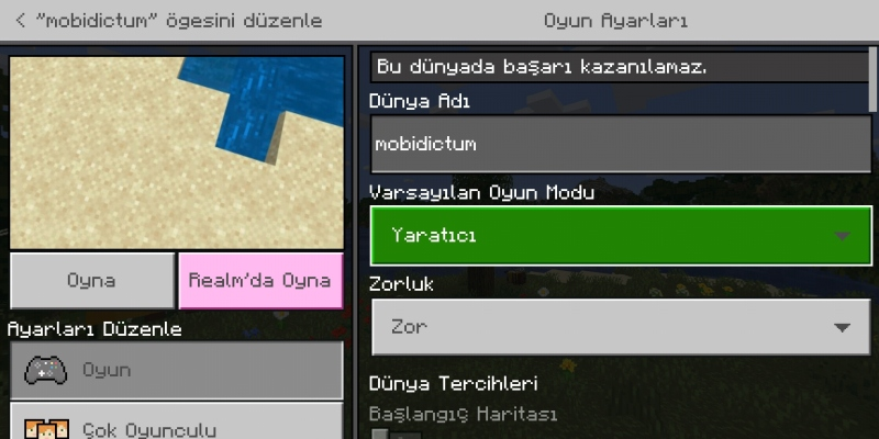 Minecraft Pocket Edition Varsayılan Oyun Modu