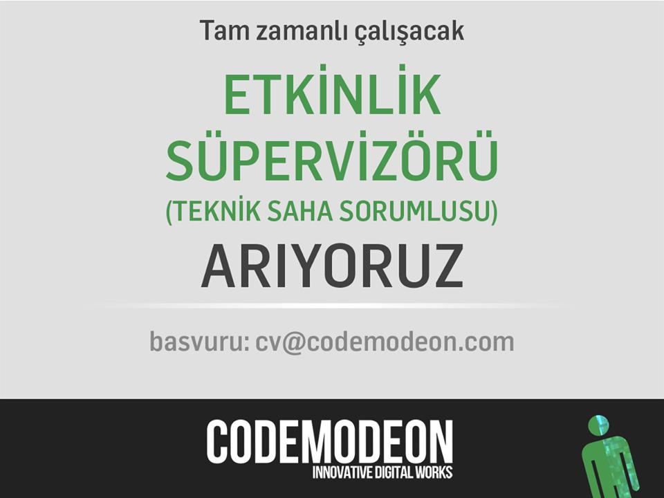 Codemodeon Etkinlik Süpervizörü Arıyor